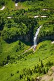 Waterfalls along the Going to the Sun Road in Glacier National Park. Beautiful view of waterfalls along the Going to the Sun Road in Glacier National Park Stock Photography