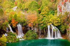 Waterfalls in Autumn Forest Stock Images