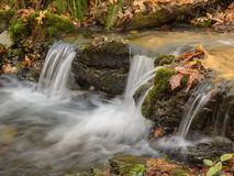 Waterfalls with autumn leaves Stock Photos