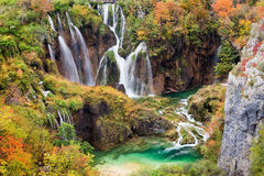 Waterfalls in Autumn Scenery Stock Images