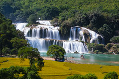 Waterfalls Ban Gioc. Ban Gioc Waterfall beautiful scene Stock Photos