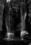 Waterfalls in black and white. Dual waterfalls taken in black and white Royalty Free Stock Images