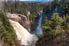 Waterfalls and boreal forest Royalty Free Stock Image
