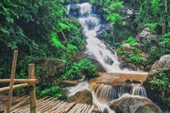 Waterfalls with bridge Royalty Free Stock Photos