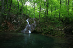 Waterfalls in the Carpathian Mountains. In spring Royalty Free Stock Images
