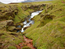 Waterfalls cascade at river Skoga in iceland Stock Photography
