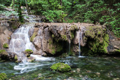 Waterfalls and cascades in forest Royalty Free Stock Image