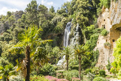 Waterfalls and caves troglodytes. Waterfall and caves troglodytes Villecroze in Provence Royalty Free Stock Photo