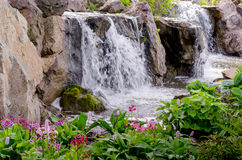 Waterfalls at the Chicago Botanic Gardens. The Chicago Botanic Gardens has many beautiful spaces, and the many ponds and waterfalls in the garden are wonderful stock photo