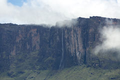 Waterfalls and clouds at Kukenan tepui or Mount Roraima. Venezue. Waterfalls and clouds at Mount Roraima or Kukenan tepui early in the morning, Gran Sabana Royalty Free Stock Image