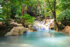 Waterfalls In Deep Forest at Erawan Waterfall stock images