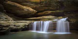 Waterfalls. A detailed panoramic of a small waterfall in Hocking Hills State Park Royalty Free Stock Photos