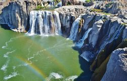 Waterfalls with a double rainbow. Shoshone Waterfalls on the Snake River with a double rainbow displayed Royalty Free Stock Image