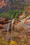 Waterfalls at Emerald Pools in Zion National Park. With late fall colors Royalty Free Stock Images