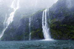 Waterfalls in Fiordland, southern New Zealand.  Royalty Free Stock Photo
