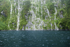 Waterfalls in Fiordland, southern New Zealand Royalty Free Stock Image