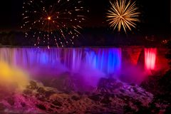 Waterfalls Fireworks Royalty Free Stock Photo