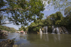 Waterfalls and floating village at Sai Yok National Park, Thailand Stock Image