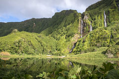 Waterfalls on Flores island, Azores archipelago (Portugal) Royalty Free Stock Photos
