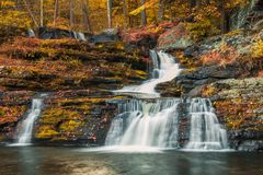 Factory Falls Waterfalls in vivid Fall foliage Royalty Free Stock Images