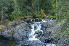 Waterfalls in the forest, karelia, ruskeala Royalty Free Stock Images