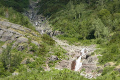 Waterfalls in Glacier. Waterfalls along the Going to the Sun Road in Glacier National Park Stock Photo