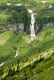 Waterfalls in Glacier. Waterfalls along the Going to the Sun Road in Glacier National Park Stock Photography