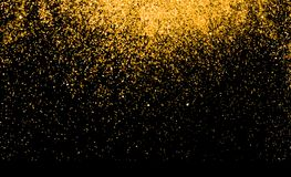 Waterfalls of golden glitter sparkle bubbles champagne particles. Stars on black background,happy new year holiday concept Royalty Free Stock Images