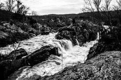 Waterfalls at Great Falls Virginia. In winter Stock Image
