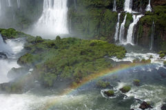 Waterfalls in Iguazu. The waterfalls seen from the brasilian side with a lot of green forest and a rainbow Stock Photos