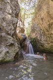 The waterfalls on the island of Samos Stock Photography