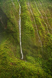 Waterfalls - Kauai. Waterfalls inside the crater of Mount Waialeale (Wai'ale'ale or Rippling Water), Kauai, Hawaii. This is an aerial photo taken from a Royalty Free Stock Photography