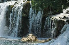 Waterfalls in Krka National Park in Croatia. Strength and picturesque miracle of nature. Water royalty free stock images