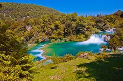 Waterfalls in a Krka National Park in Croatia Stock Images