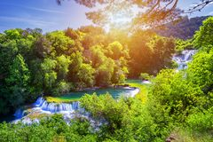 Waterfalls Krka, National Park, Dalmatia, Croatia. View of Krka National Park, Roski Slap location, Croatia, Europe. Beautiful royalty free stock photo