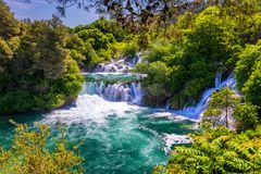 Waterfalls Krka, National Park, Dalmatia, Croatia. View of Krka National Park, Roski Slap location, Croatia, Europe. Beautiful stock photos