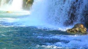 Waterfalls, Krka NP, Dalmatia, Croatia, Europe. Panoramic shot of waterfall on Krka river-Croatia stock video