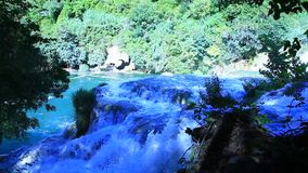 Waterfalls, Krka NP, Dalmatia, Croatia, Europe. Panoramic shot of waterfall on Krka river-Croatia stock footage