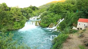 Waterfalls, Krka NP, Dalmatia, Croatia, Europe. Panoramic shot of waterfall on Krka river-Croatia stock video footage