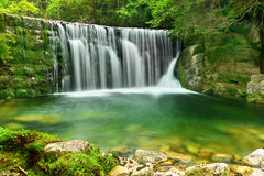 Waterfalls Lake Emerald Forest Landscape. Beautiful Emerald Lake -  Nature scene of  forest waterfalls landscape