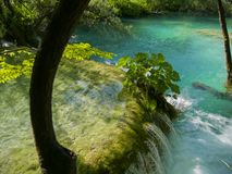 Waterfalls on a lake. Waterfalls to a lake in croatia next to trees royalty free stock photography