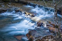 Cascading Waterfall on Mill Creek. Waterfalls located on Mill Creek located in the Jefferson National Forest, Craig County, Virginia, USA stock image