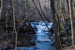 Cascading Waterfall on Mill Creek. Waterfalls located on Mill Creek located in the Jefferson National Forest, Craig County, Virginia, USA stock images