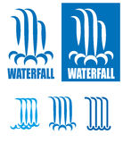 Waterfalls logo set Stock Images