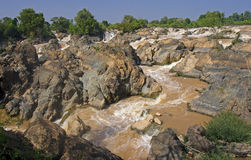 Waterfalls on the Mekong River Royalty Free Stock Photo