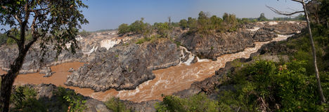 Waterfalls on the Mekong River Stock Photo