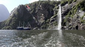 Waterfalls in Milford Sound fiord NZ Royalty Free Stock Photo