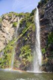 Waterfalls in Milford Sound. New Zealand Stock Photography