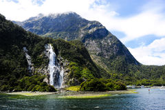 Waterfalls in Milford Sound New Zealand Stock Photos