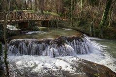 Waterfalls at Monasterio de Piedra, Zaragoza, Aragon, Spain Royalty Free Stock Images